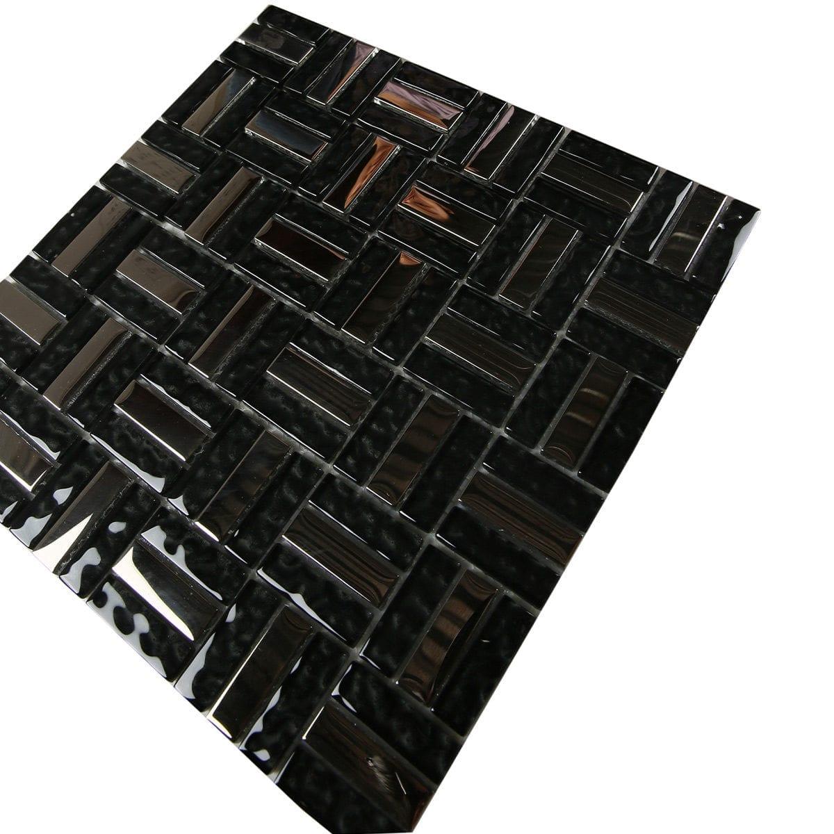 Glass Mosaic Lt Black Blend Metallic M50127 P1