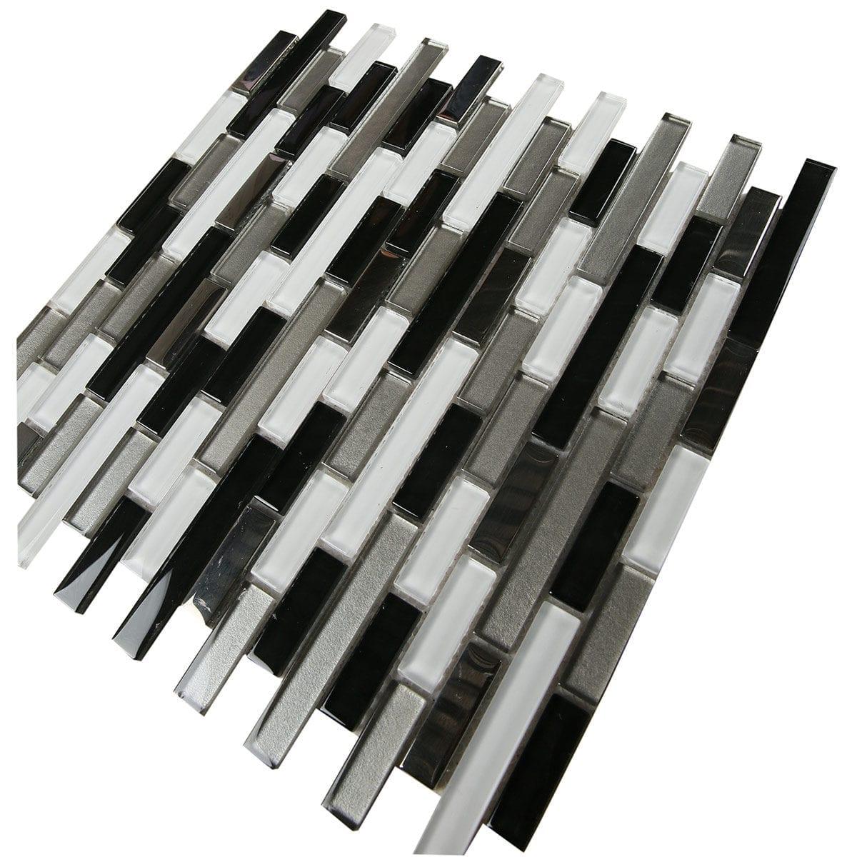M4T031 1 Brick pattern White grey black metalic finish